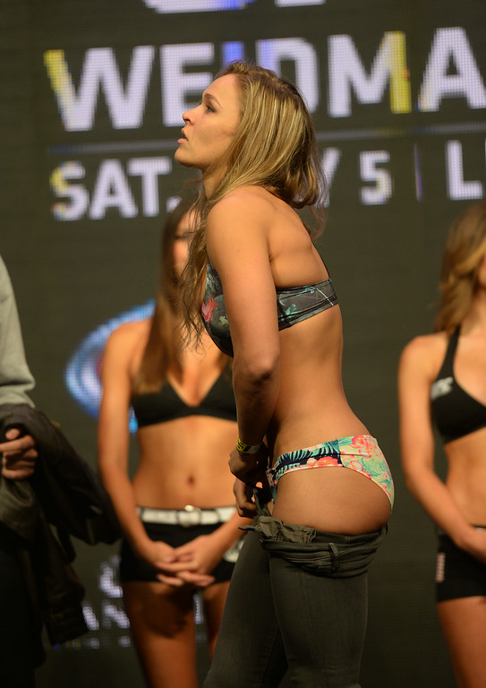 UFC Women\'s Bantamweight Champion Ronda Rousey during weigh-ins for ...