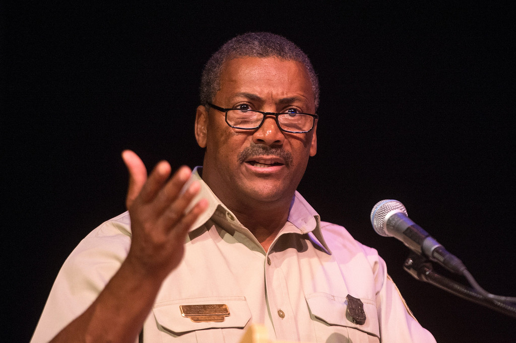 Description of . Randy Moore, regional forester of the U.S. Forest Service, speaks about the San Gabriel Mountains being considered for national monument status during a San Gabriel Mountains meeting Tuesday night, August 26, 2014 at Baldwin Park Performing Arts Center. Rep. Judy Chu has a bill to make the area a national recreation area but has since asked President Obama to consider the mountains a national monument. (Photo by Sarah Reingewirtz/Pasadena Star-News)