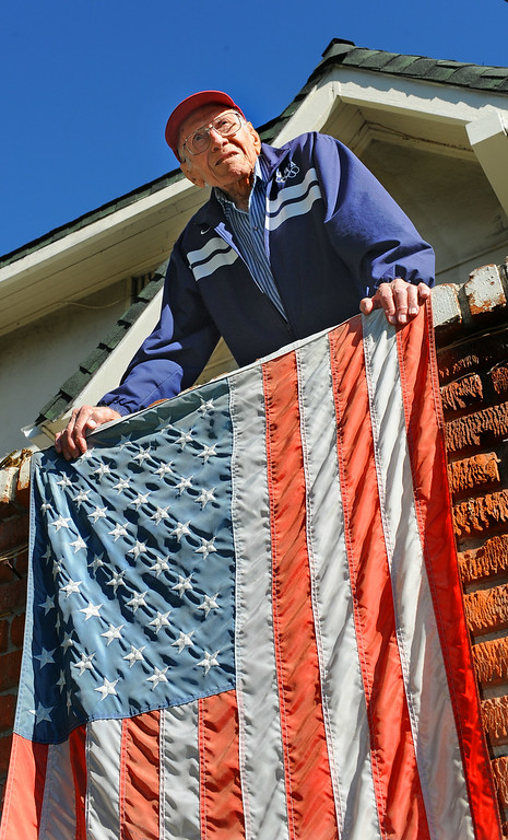 Description of . Louis Zamperini, 94, at his Hollywod home. (Photo by Brad Graverson/Daily Breeze) 11-7-10