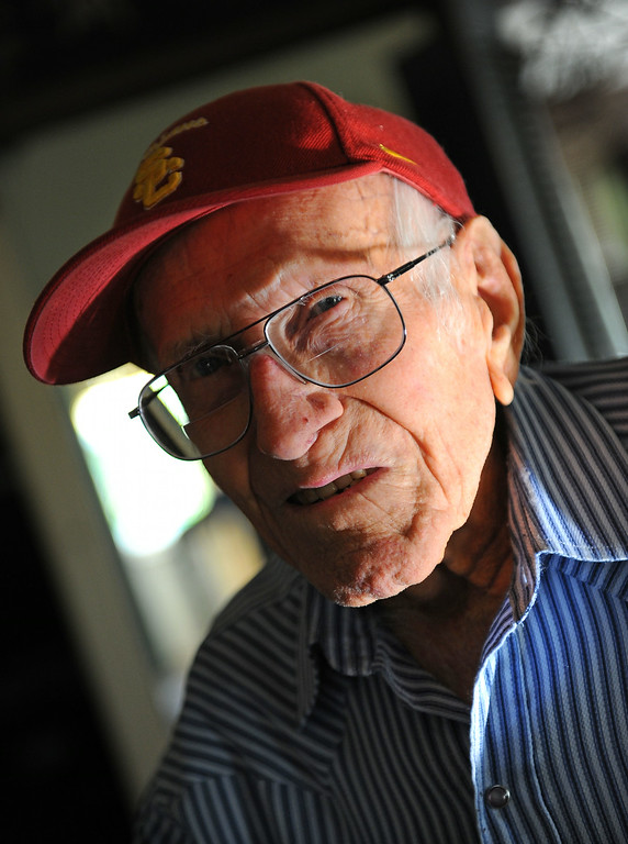 Description of . Louis Zamperini, 94, at his Hollywood home.  (Photo by Brad Graverson/Daily Breeze) 11-7-10