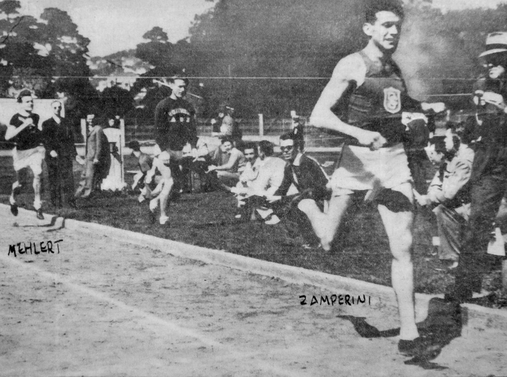 Description of . NWS_Zamperini.1.0128.sv - photo: Scott Varley - As a USC Trojan, Louie Zamperini runs the mile race at Berkeley in this undated newspaper clipping. (Photo by Scott Varley/Daily Breeze)