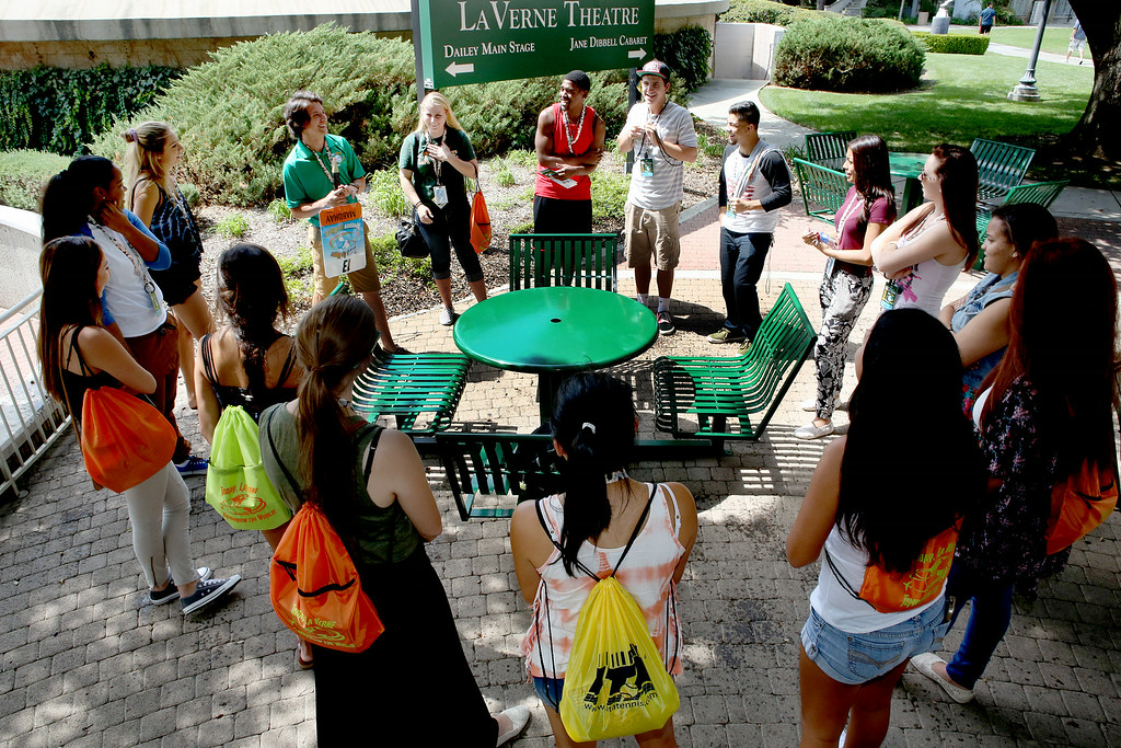 Description of . A group of University of La Verne incoming freshman, meet with their Orientation Week Leader, and get to know each other, Wednesday August 20, 2014,  on move-in day, August 20, 2014,  in preparation for the upcoming fall semester at the University of La Verne.  (Nancy Newman/for the Inland Valley Daily Bulletin)