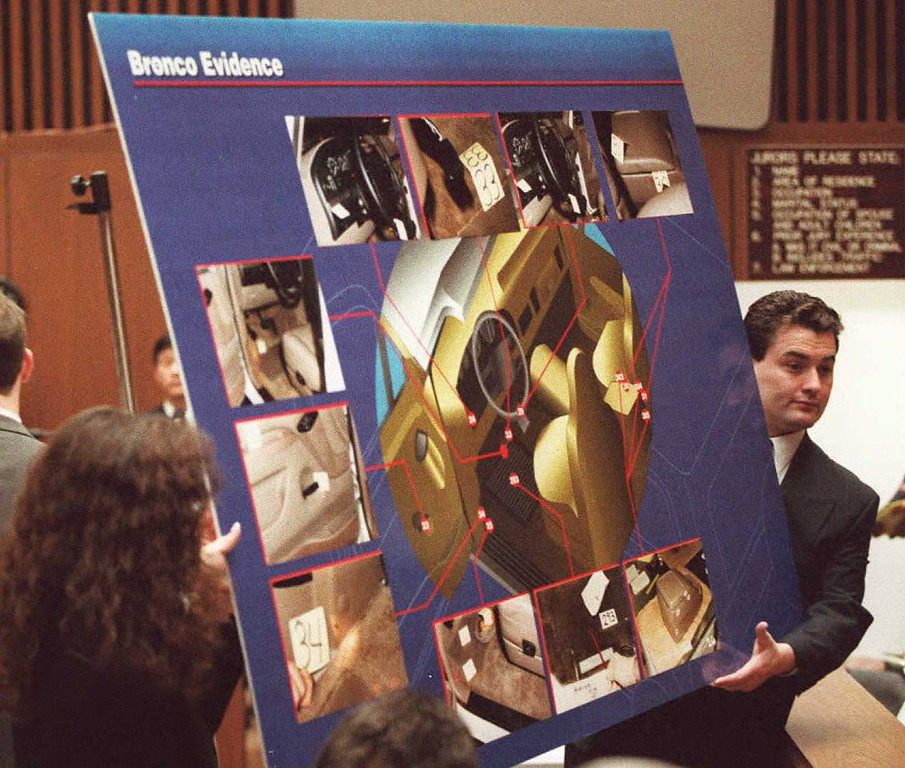 Description of . Court aides display a chart to the jury 04 April showing pictures and a diagram of where blood was found in OJ Simpson's Ford Bronco during the OJ Simpson murder trial in Los Angeles.     (POO/AFP/Getty Images)