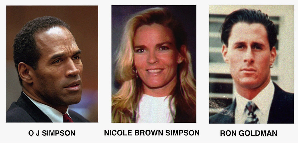 Description of . FILE- This combo shows O. J. Simpson, left, and murder victims Nicole Brown Simpson, centre, and Ron Goldman, both of whom were murdered on June 12, 1994. O.J Simpson was aquitted of their murder, but will face a civil suit which has been brought by the victims' families and is scheduled to begin Tuesday, Sept. 17. (AP Photo/File)