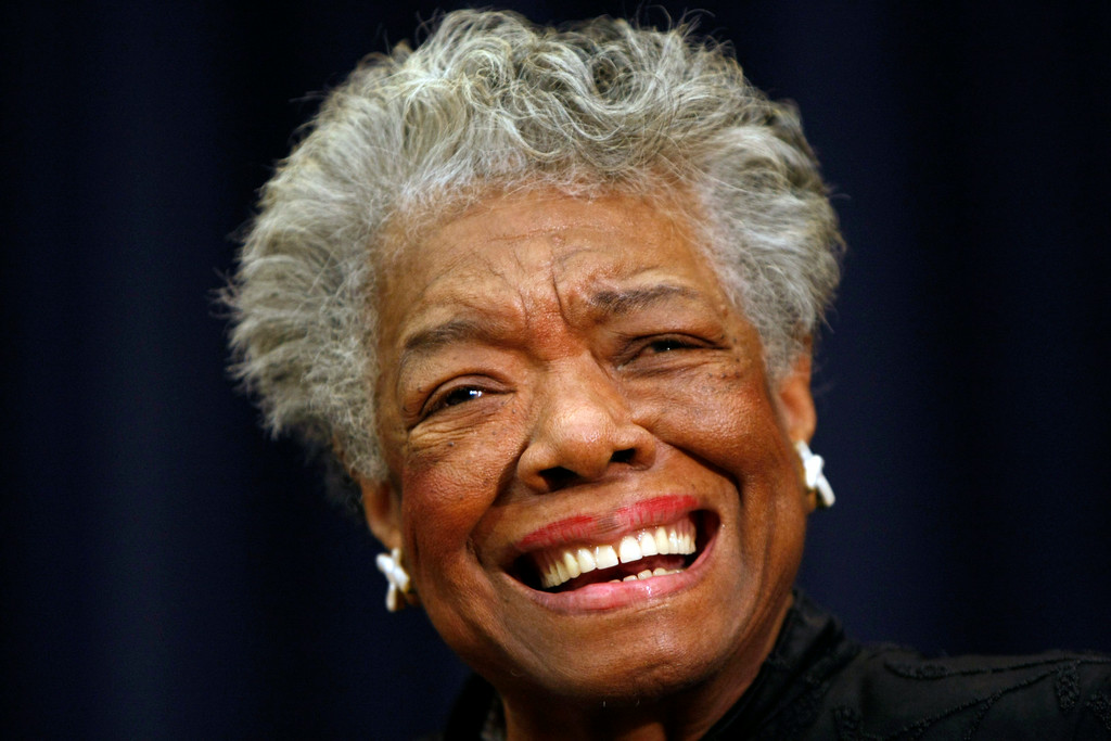 Description of . FILE - In this Nov. 21, 2008 file photo, poet Maya Angelou smiles at an event in Washington. Angelou, a Renaissance woman and cultural pioneer, has died, Wake Forest University said in a statement Wednesday, May 28, 2014. She was 86.    http://bit.ly/1ryquJs   (AP Photo/Gerald Herbert, File)