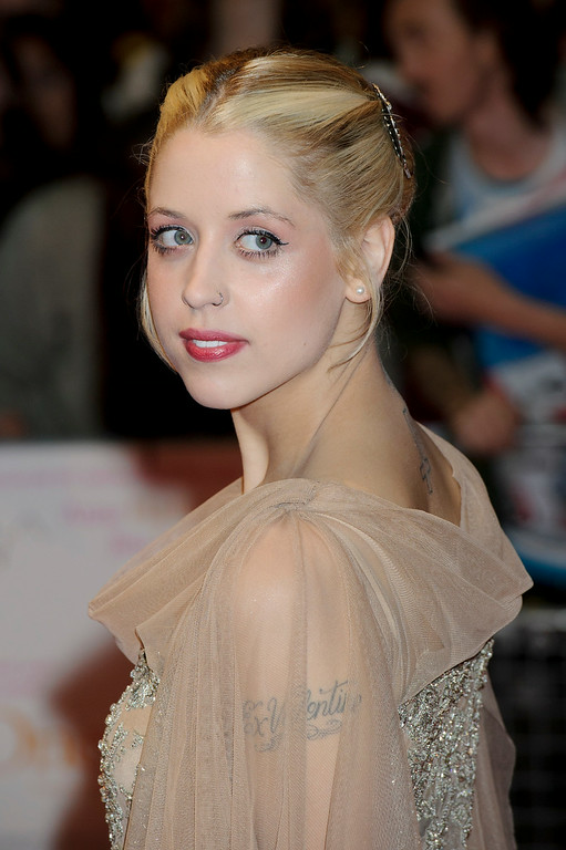 Description of . FILE - In this Tuesday, Aug. 23, 2011, file photo, British personality Peaches Geldof arrives for the European premiere of One Day at a central London venue. Entertainer Bob Geldof's agent said on Monday, April 7, 2014,  his 25-year-old daughter Peaches has died.  http://bit.ly/1tVqvnw (AP Photo/Jonathan Short, File)