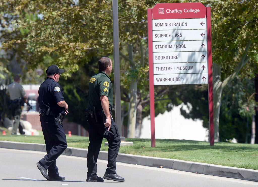 Description of . The Chaffey College campus in Rancho Cucamonga was lockdown by campus police at approximately 1:15 p.m Thursday August 21, 2014 after a report was made about a maie with anti-goverment patches on his vest, wearing black combat boots, black pants and a black backpack. The threat was never confirmed and no one was taken into custody. The campus was under lockdown for over an hour before it was lifted. Classes have been cancelled for the rest of the day.  (Will Lester/Inland Valley Daily Bulletin)