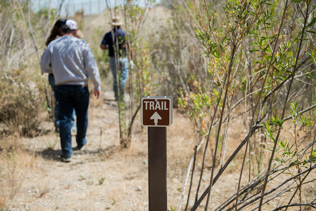 Description of . Vulcan Materials Company's officials led visitors through the Fish Canyon Falls Access Trail in Azusa on Wednesday, June 18, 2014. Vulcan have rebuilt the trail and will open it 7 days a week.  (Photo by Watchara Phomicinda/ San Gabriel Valley Tribune)