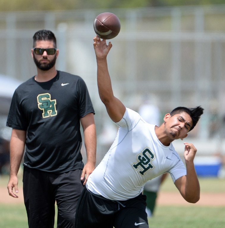 Description of . Artesia vs. South Hills during a passing league game during the Tournament of Champions at Santa Fe High School in Santa Fe Springs, Calif., on Saturday, July 12, 2014.   (Keith Birmingham/Pasadena Star-News)