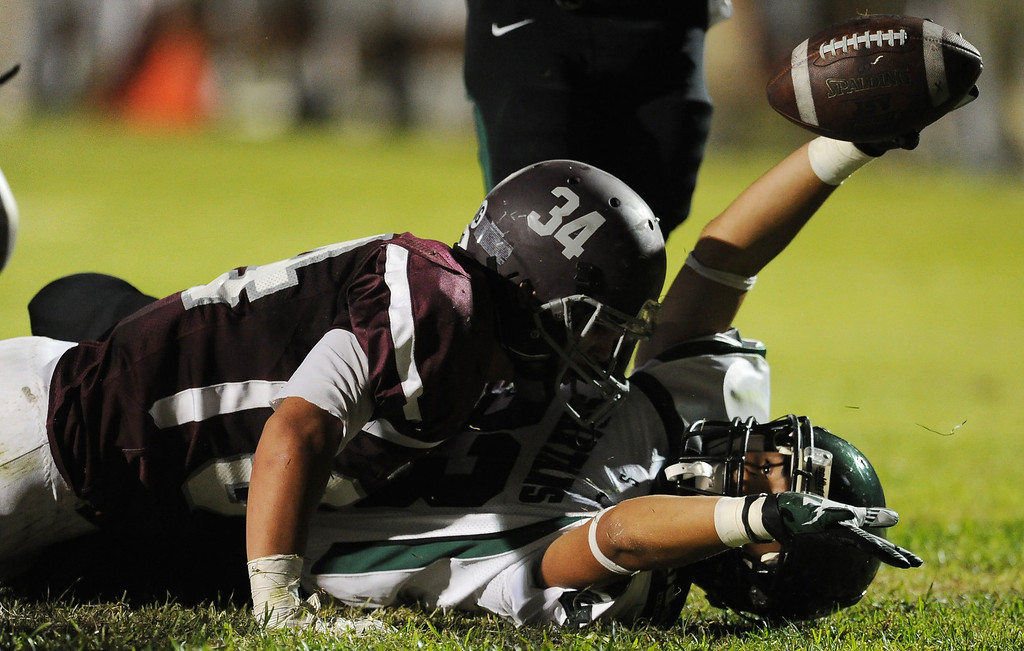 Description of . South Torrance's Brandon Chavez holds the ball after diving for a touchdown past Rosemead's Jasper Chavez (C) (34) in the first half of a prep football game at Rosemead High School in Rosemead, Calif. on Thursday, Sept. 12, 2013.   (Photo by Keith Birmingham/Pasadena Star-News)