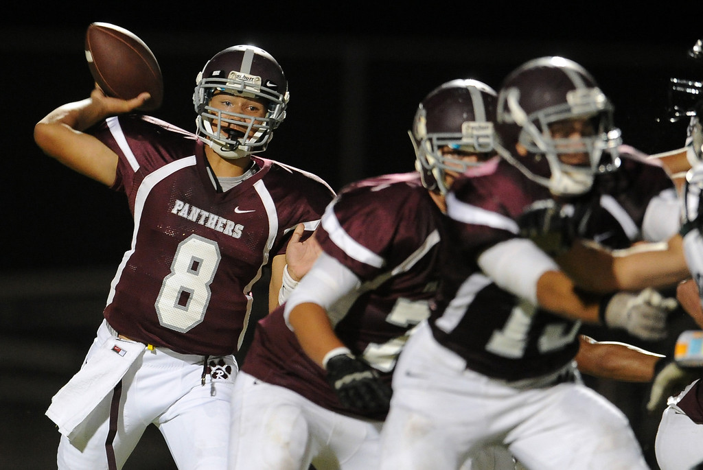 Description of . Rosemead quarterback Isaia Ah-hing (8) passes against South Torrance in the first half of a prep football game at Rosemead High School in Rosemead, Calif. on Thursday, Sept. 12, 2013.   (Photo by Keith Birmingham/Pasadena Star-News)