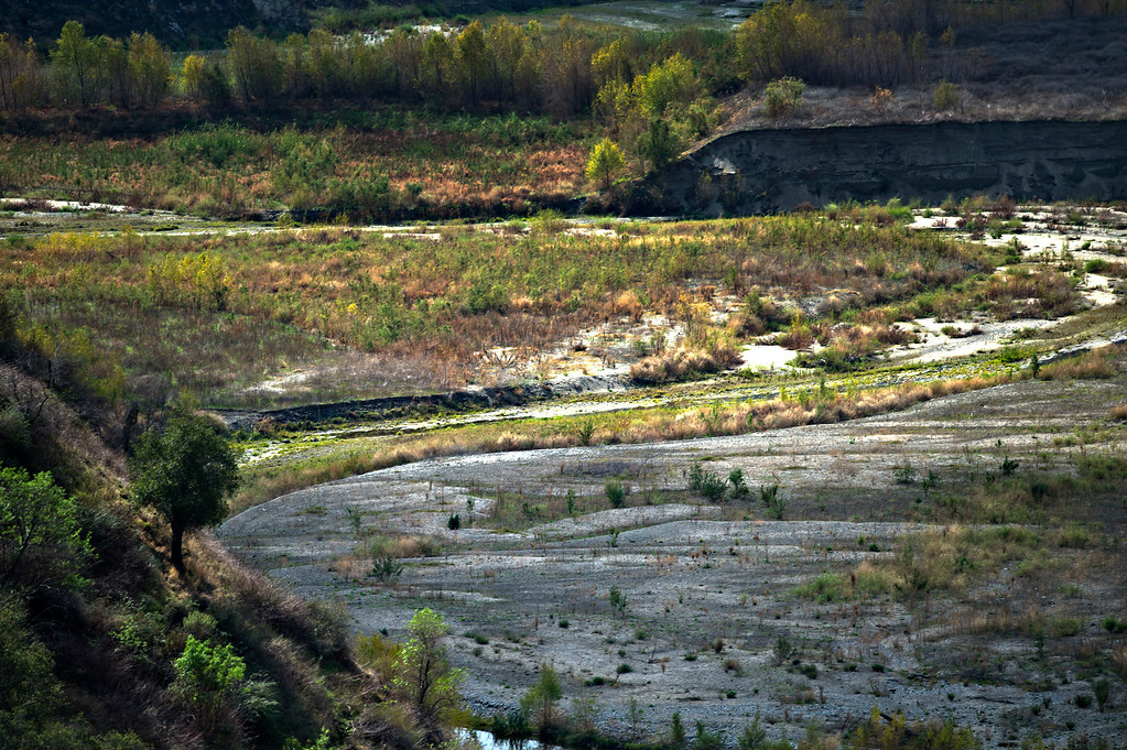 Description of . Dried patches of the San Gabriel River just south of San Gabriel Dam in Angeles National Forest on Friday, Feb. 7, 2014 show the effects of the prolonged drought. (Photo by Watchara Phomicinda/ San Gabriel Valley Tribune)