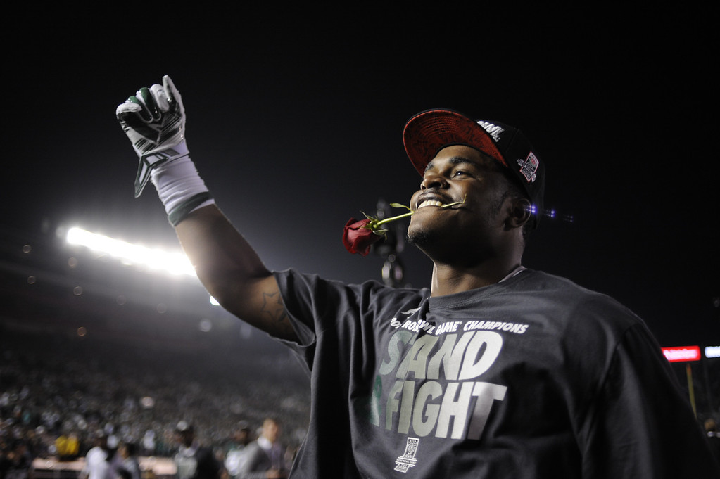 Description of . Michigan State wins the 100th Rose Bowl game in Pasadena Wednesday, January 1, 2014. Michigan State defeated Stanford 24-20. (Photo by Hans Gutknecht/Los Angeles Daily News)