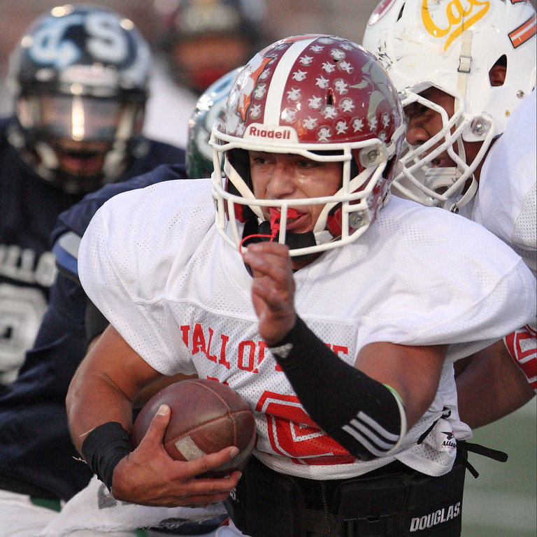 Description of . La Serna's Frankie Palmer (19) runs for yardage during the 35th Annual Hall of Fame All-Star Football Game at West Covina High School in West Covina, CA on Friday, May 16, 2014. (SVGN/Correspondent Photo by David Thomas/SPORTS)