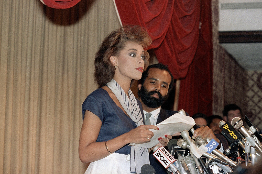 Description of . Vanessa Williams resigns as Miss America at a press conference at the Sheraton Center on July 23, 1984. She resigned her title because sexually explicit photos of herself were published in Penthouse Magazine. (AP Photo)