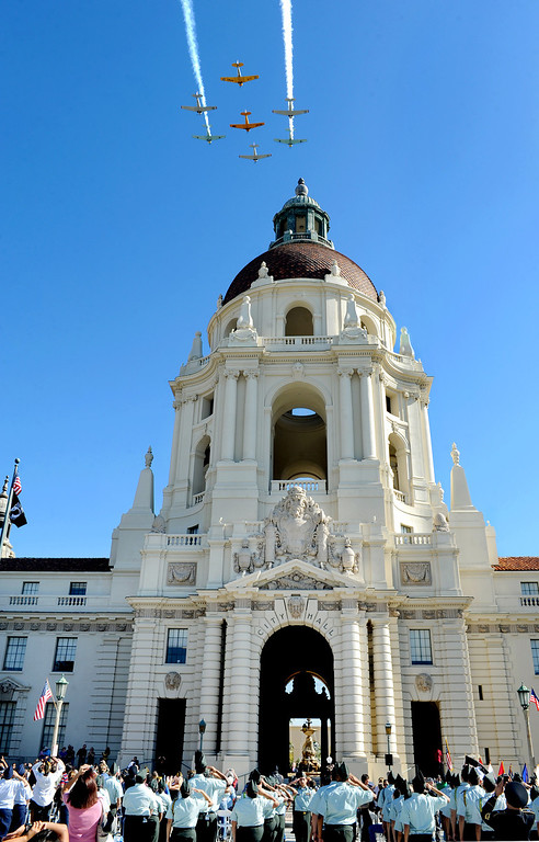 Description of . Fly over Pasadena City Hall concluding Pasadena's annual Veterans Day Ceremony in front of Pasadena City Hall at Centennial Square. Monday, November 11, 2013. The public, veterans, their families, friends and all uniformed military and first-responders, joined together to help honor the men and women of the U.S. Armed Forces. This year's event, while recognizing the important contributions made by all veterans, will have a special emphasis on honoring the nation's youngest and newest veterans. The Veterans Day celebration is co-sponsored by the Pasadena Veterans Day Committee and the City of Pasadena.(Photo by Walt Mancini/Pasadena Star-News)