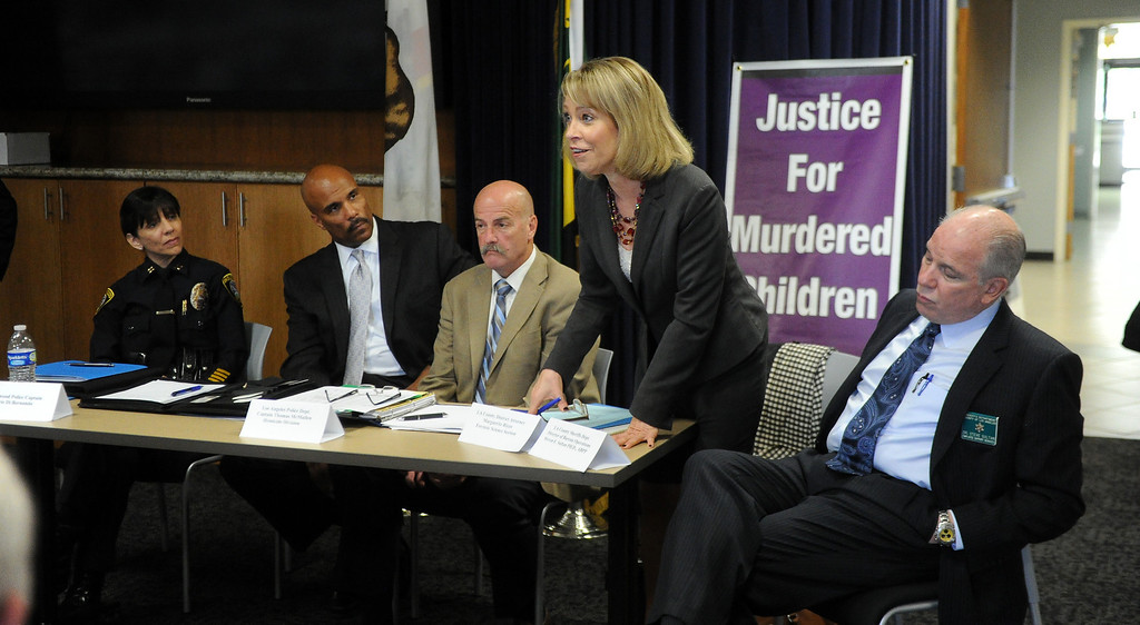 Description of . Los Angeles County District Attorney Marguerite Rizzo, Forensic Science Section speaks during a Los Angeles County Sheriff's Department and Justice for Murdered Children unsolved homicide summit at the Los Angeles County Sheriff's headquarters on Saturday, July 20, 2013 in Monterey Park, Calif.  (Keith Birmingham/Pasadena Star-News)