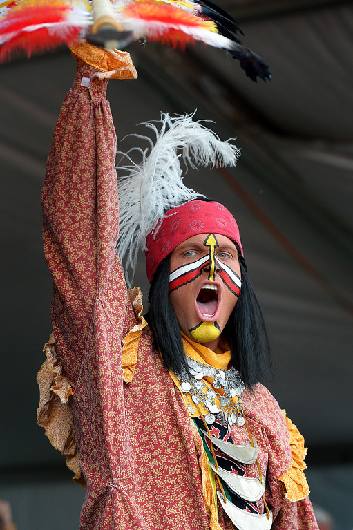 Description of . Florida State mascot Chief Osceola pumps up the crowd before the BCS game at the Rose Bowl, Monday, January 6, 2014. (Photo by Michael Owen Baker/L.A. Daily News)