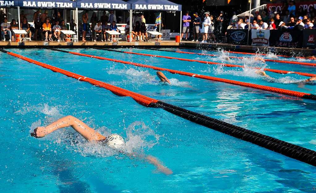Description of . Kali Kearns, left, swims in the Girls 200 Yard Freestyle race in the CIF-SS Division 4 Swimming Championship Finals held at Riverside Community College pool on Friday, May 10, 2013. (Rachel Luna / Staff Photographer)