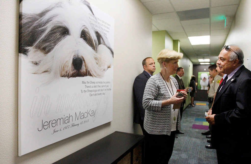 Description of . David Hidalgo, right, Supervising District Attorney for the Rancho Cucamonga Criminal Division, chats with Marie Dawson, of the Children's Assessment Center, as they stand next to a large canvas photo created in memory of slain San Bernardino County Sheriff's Deputy Jeremiah MacKay, for whom a wing of the center was dedicated on Wednesday, May 21, 2014 at the Children's Assessment Center in San Bernardino, Ca. (Photo by Micah Escamilla/San Bernardino Sun)