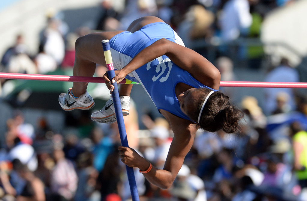 Description of . Chio's Marguerite Crockem competes in the pole vault during the CIF California State Track & Field Championships at Veteran's Memorial Stadium on the campus of Buchanan High School in Clovis, Calif., on Saturday, June 7, 2014. 