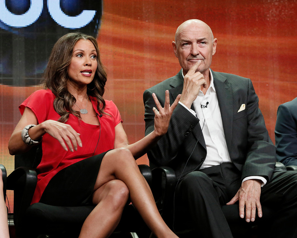 Description of . FILE - This July 27, 2012 file photo shows Vanessa Williams, left, and Terry O' Quinn attending the