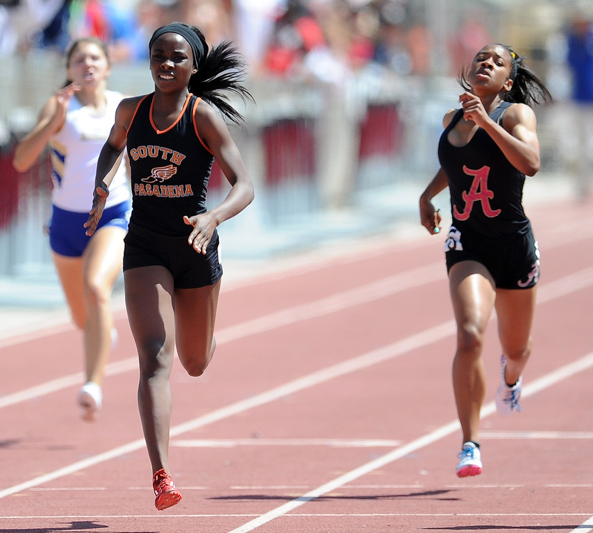 Description of . South Pasadena's Laura Anuakpado wins the 400 meters race during the CIF-SS track & Field championship finals in Hilmer Stadium on the campus of Mt. San Antonio College on Saturday, May 18, 2013 in Walnut, Calif.  (Keith Birmingham Pasadena Star-News)