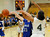 02-23-2012--(LANG Staff Photo by Sean Hiller)- Narbonne beat El Camino Real 47-39 in Saturday's L.A. City Section Division I semifinal girls basketball game. Narbonne'sKiana Angel (4) tangles up with El Camino's Shaina Van Stryk (33).