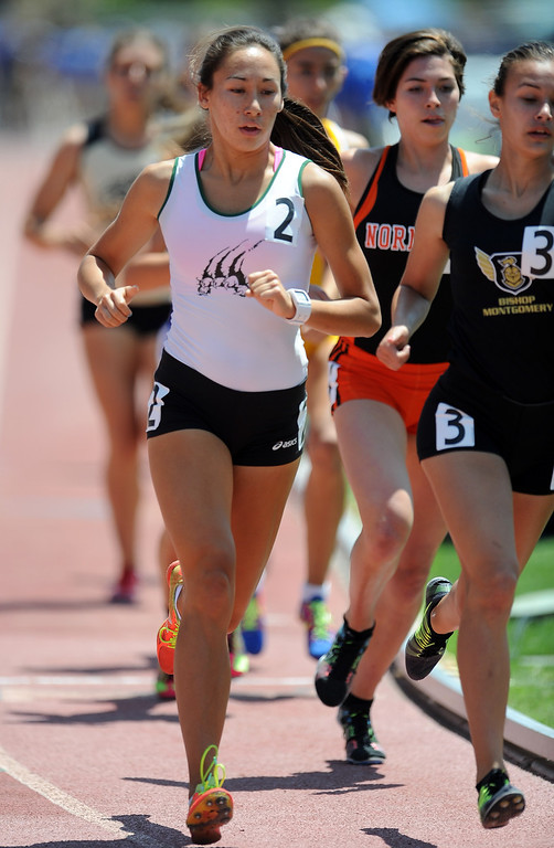 Description of . Bonita's Marissa Scott in the 1600 meters race during the CIF-SS track & Field championship finals in Hilmer Stadium on the campus of Mt. San Antonio College on Saturday, May 18, 2013 in Walnut, Calif.  (Keith Birmingham Pasadena Star-News)