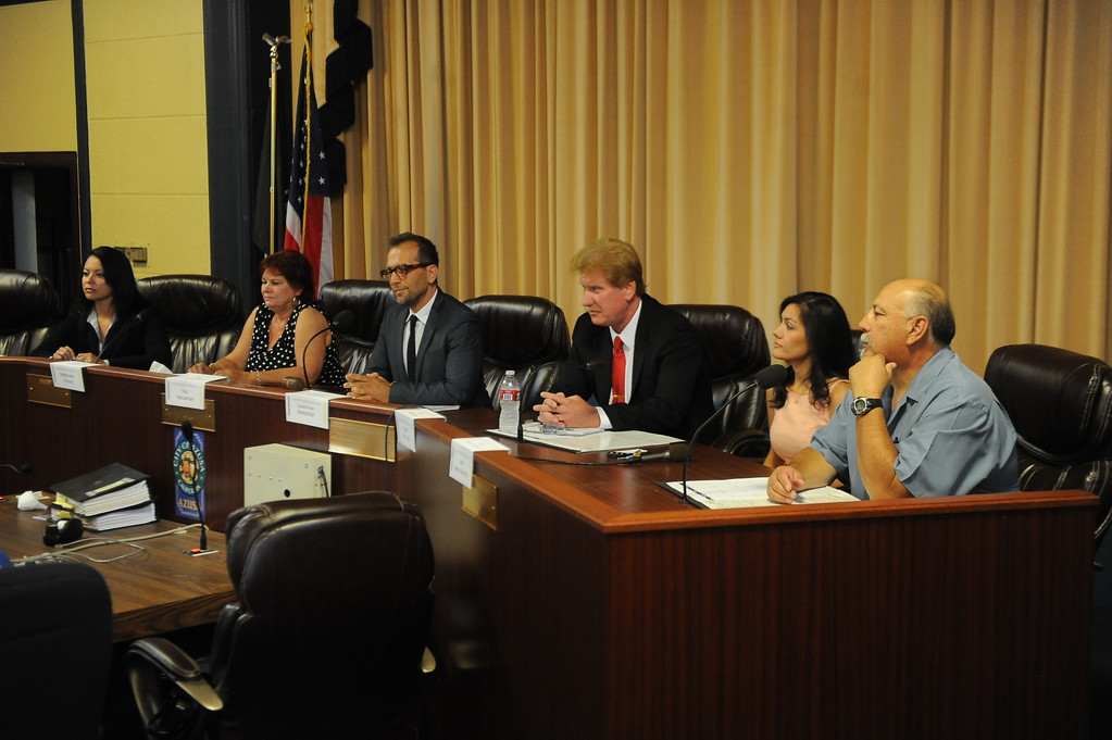 Description of . Left to Right: Candidates Helen Jaramillo, Debbie Kindred, Paul Naccachian, Russell Rentschler, Linda Bermudez and Johnny Sanchez during a Azusa Unified School District candidate forum at Azusa Civic Auditorium on Tuesday, Aug. 13, 2013 in Azusa, Calif.   (Keith Birmingham/Pasadena Star-News)