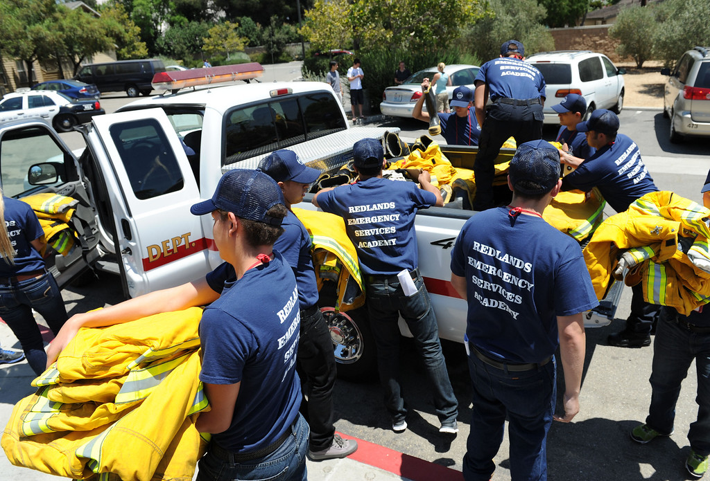 Description of . (John Valenzuela/ Staff Photographer) Redlands Emergency Services Academy (R.E.S.A) begin training at the University Redlands, July 18, 2013. The annual academy, which has twenty participating this year, takes high school grads on a week long course to see if they have what it takes to have a career in public safety. RESA is taught by area firefighters and police officers.