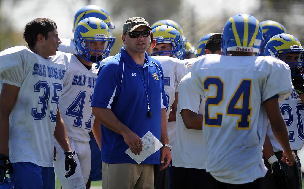 Description of . Coach Bill Zernickow during practice at San Dimas High School on Friday, Aug. 9, 2013 in San Dimas, Calif.   (Keith Birmingham/Pasadena Star-News)