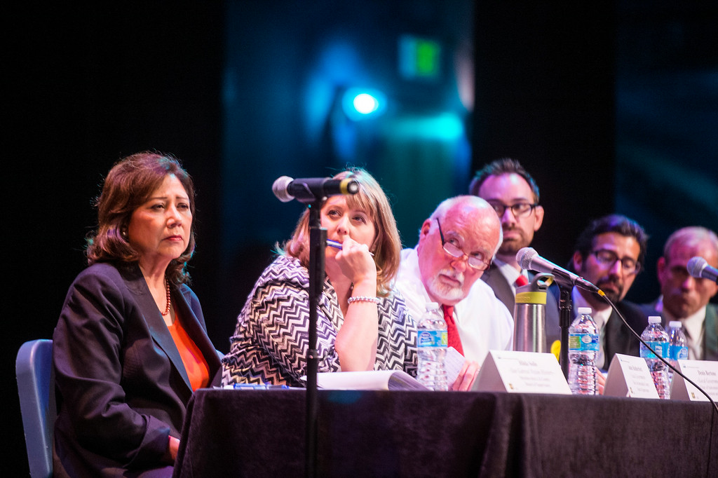 Description of . Hilda Solis and other local officials sit on a panel during a San Gabriel Mountains meeting as the forest is being considered for national monument status Tuesday night, August 26, 2014 at Baldwin Park Performing Arts Center. Rep. Judy Chu has a bill to make the area a national recreation area but has since asked President Obama to make the mountains a national monument. (Photo by Sarah Reingewirtz/Pasadena Star-News)