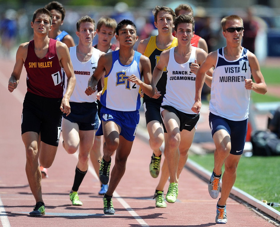 Description of . Rancho Cucamonga, second from right, in the 1600 meter race during the CIF-SS track & Field championship finals in Hilmer Stadium on the campus of Mt. San Antonio College on Saturday, May 18, 2013 in Walnut, Calif.  (Keith Birmingham Pasadena Star-News)