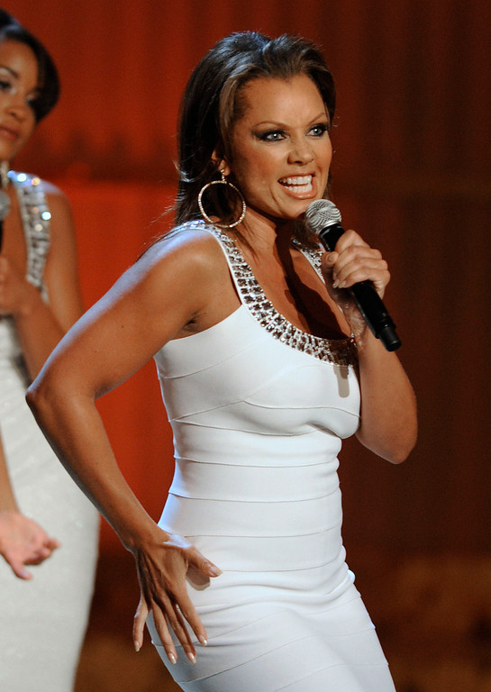 Description of . Host of the telecast, Vanessa Williams, is seen on stage at the Daytime Emmy Awards on Sunday Aug. 30, 2009, in Los Angeles.(AP Photo/Chris Pizzello)