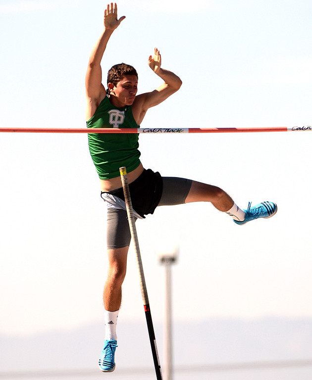 Description of . Thousand Oak's Luigi Colella competes in the pole vault during the CIF-SS Masters Track and Field meet at Falcon Field on the campus of Cerritos College in Norwalk, Calif., on Friday, May 30, 2014.   (Keith Birmingham/Pasadena Star-News)