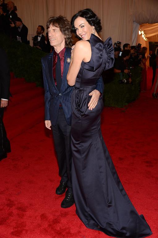 Description of . Mick Jagger and designer L'Wren Scott attends the