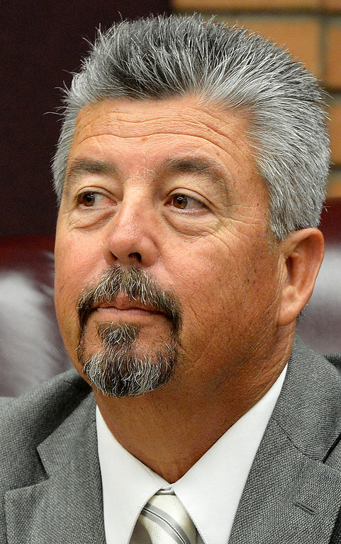 Description of . The Rialto Unified school board, vice president Joe Ayala pictured here, accepted the retirement of embattled superintendent Harold Cebrun on Friday March 7, 2014 saving the district 18 months of salary, $360,900, that they would have owed him if he were fired. The 4-1 vote after two hours of closed-door discussion makes his retirement effective March 31. Board member Edgar Montes was the one dissenting vote in accepting Cebrun's retirement. (Photo by Rick Sforza/The Sun)