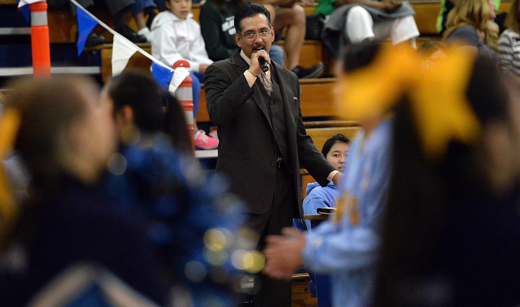 Description of . Announcer Anthony Lopez prior to a prep basketball game between Bonita and Walnut at Walnut High School in Walnut, Calif., on Wednesday, Jan. 15, 2014. Bonita won 60-50. (Keith Birmingham Pasadena Star-News)