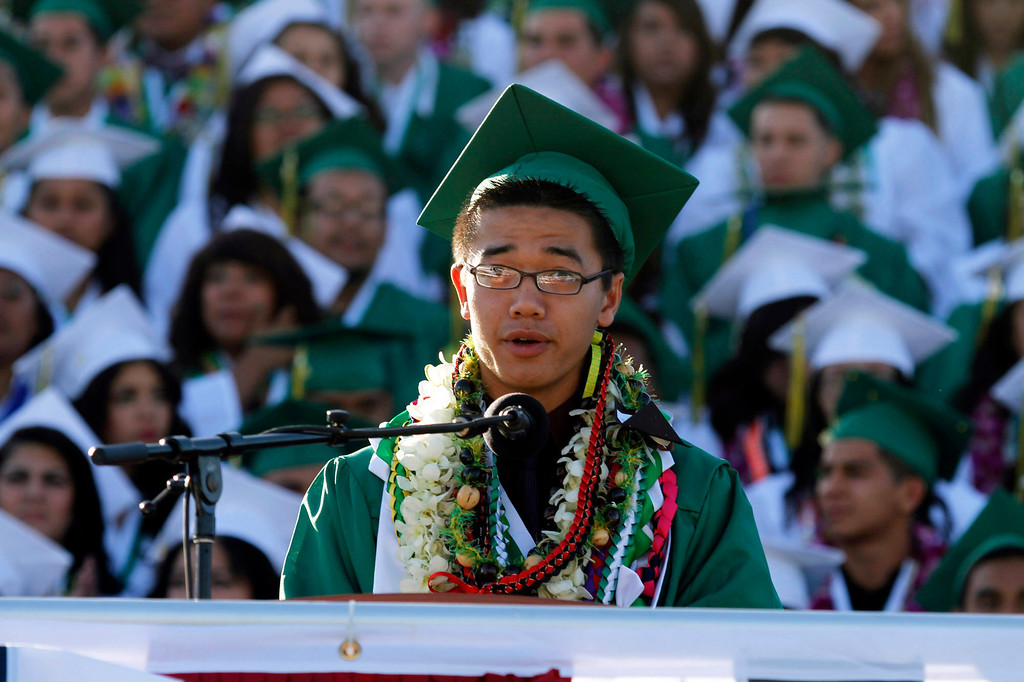 Description of . Mitchell Tran, USB President, during Schurr High School 2013 Commencement Exercises, at Ken Davis Field, at Schurr High School in Montebello, Thursday, June 20, 2013. (Correspondent Photo by James Carbone/SWCITY)