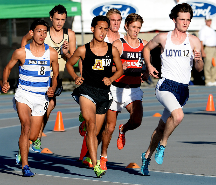 Description of . Arcadia's Phillip Rocha (10) competes in the 1600 meter run during the CIF-SS Masters Track and Field meet at Falcon Field on the campus of Cerritos College in Norwalk, Calif., on Friday, May 30, 2014.   (Keith Birmingham/Pasadena Star-News)
