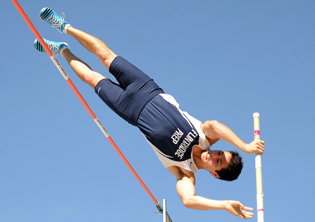 Description of . Flintridge Prep's Barrett Weiss competes in the pole vault during the CIF-SS Masters Track and Field meet at Falcon Field on the campus of Cerritos College in Norwalk, Calif., on Friday, May 30, 2014.   (Keith Birmingham/Pasadena Star-News)