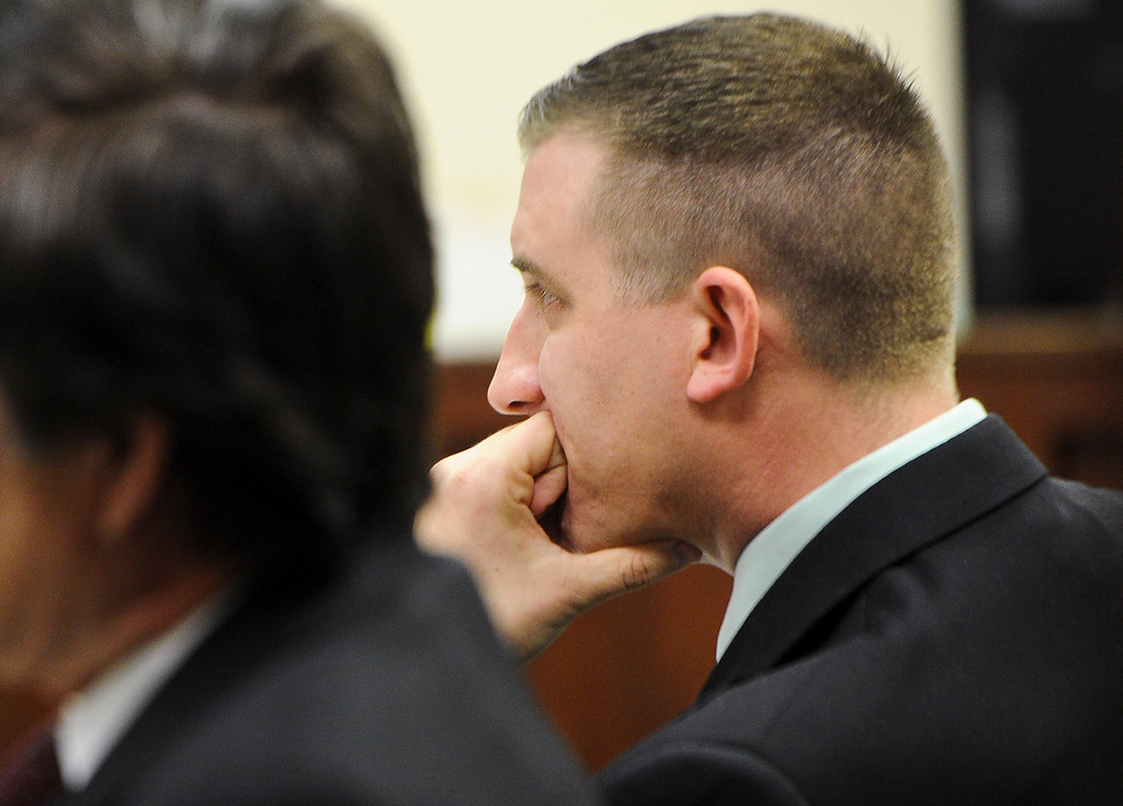 Description of . Former San Bernardino County sheriff's deputy Nathan Gastineau, who is suspected of having sex with a teen Explorer, sits in court during closing arguments of his trial at San Bernardino Superior Court on Tuesday, Jan. 28, 2014. (Photo by Rachel Luna / San Bernardino Sun)