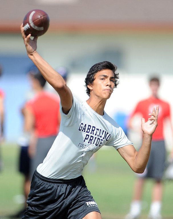 Description of . Gabrielino vs. Maranatha during the San Gabriel Valley Shootout football passing league at Arroyo High School Saturday, July 13, 2013 in El Monte, Calif.   (Keith Birmingham/Pasadena Star-News)