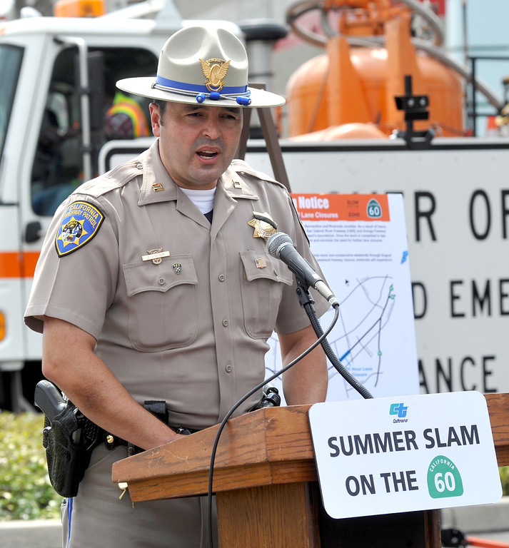 Description of . CHP Captain Dan Minor comments on Caltrans closing three lanes of the westbound 60 freeway between Nogales Street and Fullerton Road this weekend during a press conference in the City of Industry on Wednesday July 10, 2013. This is the first of four weekend closures that will carry through August 26th. (SGVN/Staff Photo by Keith Durflinger)