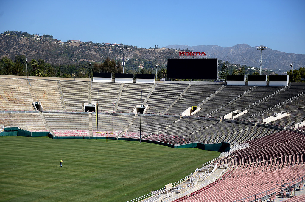Description of . The newly restored Rose Bowl is seen Thursday, June 20, 2013 in advance of the historic stadium's first public tours, which begin Saturday. (SGVN/Staff Photo by Sarah Reingewirtz)