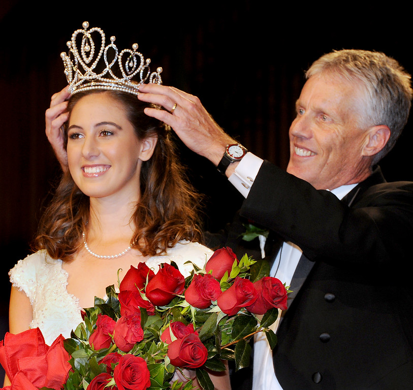 Description of . Ana Marie Acosta, 17, who attends Polytechnic School  was name Tournament of Roses 96th Rose Queen. Rose Queen Ana Marie Acosta being crowned by  R Scott Jenkins, President, Pasadena Tournament of Roses. Coronation of the 96th Rose Queen and Presentation of the 2014 Royal Court held at First Church of the Nazarene of PasadenaThursday, October 24, 2013. (Photo by Walt Mancini/Pasadena Star-News)