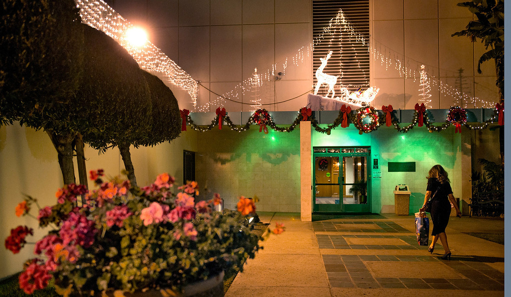 Description of . Christmas lights at the Whittier Square building on Penn Street in Whittier, Calif. Dec. 18, 2013.   (Staff photo by Leo Jarzomb/Whittier Daily News)