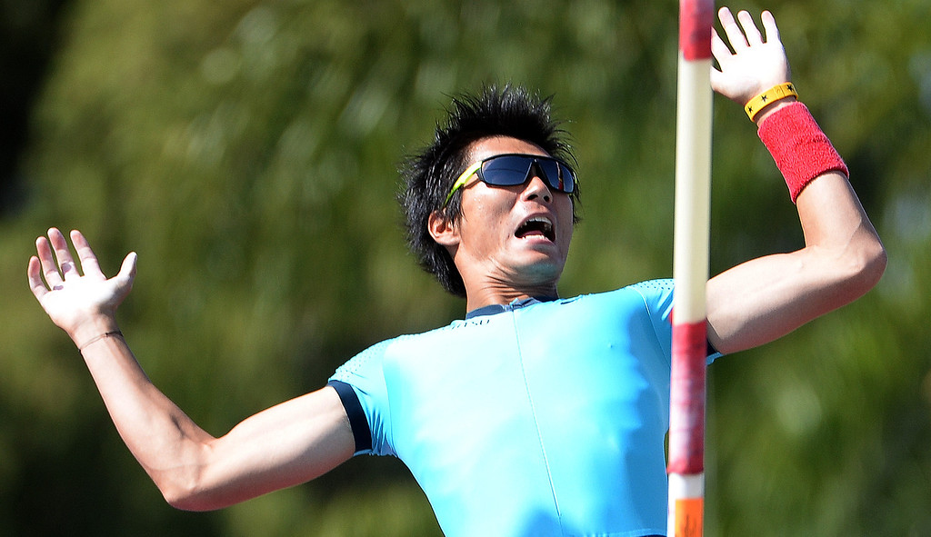Description of . Pole vaulter Daichi Sawano wins the Invitational Elite during the Mt. SAC Relays in Hilmer Lodge Stadium on the campus of Mt. San Antonio College in Walnut, Calif., on Saturday, April 19, 2014. 