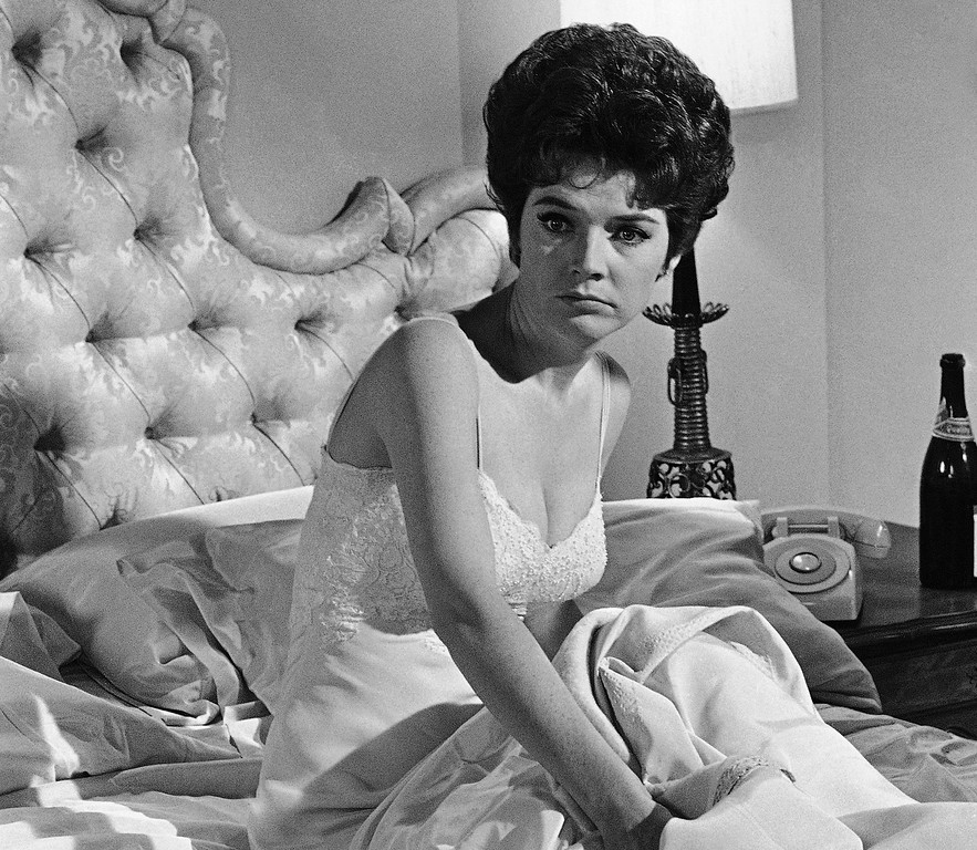 """Description of . Polly Bergen in a scene in """"Move Over, Darling,"""" a movie filmed in Hollywood on July 18, 1963.  Bergen died on Saturday, September 20, 2014. She was 84.  http://bit.ly/1ri3qfW   (AP Photo/Don Brinn)"""